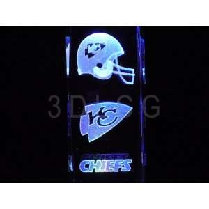 NFL Kansas City Chiefs 3D Laser Etched Crystal 6 Inch