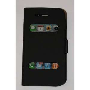 Black iPhone 4G Soft Leather Flip Wallet Case Cover + Screen