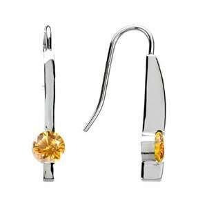 Smart Linear Round Cut 14K White Gold Stud Earrings with Orange Yellow