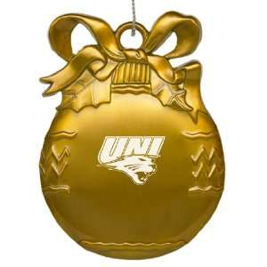 University of Northern Iowa   Pewter Christmas Tree Ornament   Gold