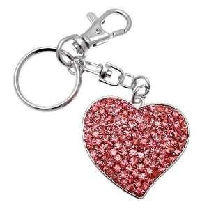 Acosta Jewellery   Pink Crystal Encrusted Heart   Bag Charm / Keyring