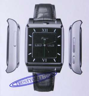 UNLOCKED REAL LEATHER WATCHSTRAPE V5S WATCH CELL PHONE 1SIM CAMERA