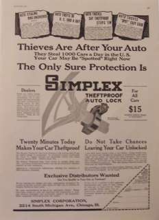 1921 Simplex Theftproof Auto Lock Car Truck Print Ad