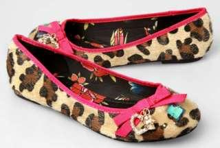 IRON FIST Love Bites Leopard Print Furry Ballet Flats