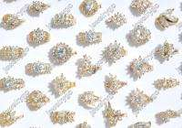 Wholesale 5 Crystal Cubic Zirconia brass&gold p Rings