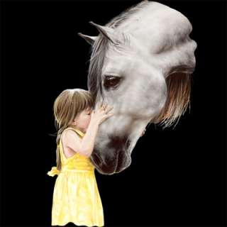 The Kiss Grey Horse and Small Girl Image on Womans T Shirt M L XL 2XL
