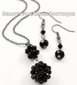 JET BLACK CRYSTAL PUFF SPHERE NECKLACE AND EARRINGS SET