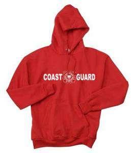 COAST GUARD MENS RED HOODIE NEW HOODED SWEATSHIRT