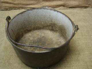 Vintage Cast Iron Pot Bucket Antique Old Porcelain Cook