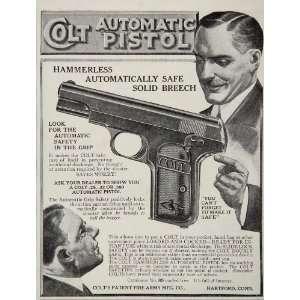 1912 Colt Automatic Pistol Hammerless Fire Arms Gun Ad