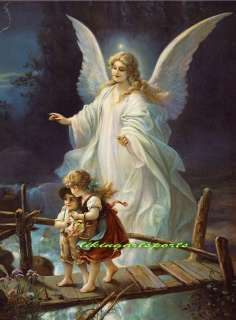 wonderful paintinglittle boy and girl with angel