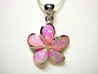 925 Sterling Silver Pink Opal Plumeria Flower Beautiful Charm Pendant