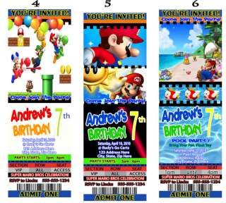 Super Mario Brothers Birthday Party Invitations Favors