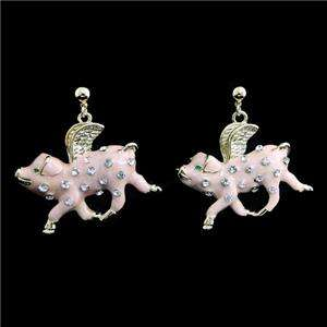 When Pigs Fly Necklace Earring Set Swarovski Crystal