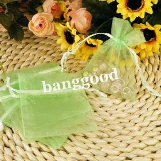 100pcs Light Green Organza Jewelry Pouch Wedding Party Favor Gift Bags