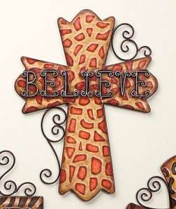 BLESSED BELIEVE FAITH ANIMAL PRINT 18 METAL CROSS WALL DECOR ART