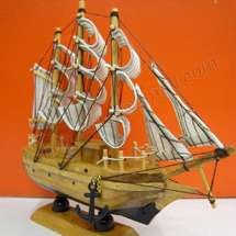 VINTAGE Nautical Wooden Wood Ship Sailboat Boat Home decor Model ACZ7K