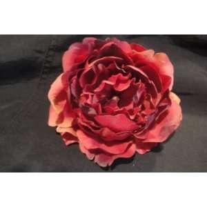 Tanday Burgundy Peony Rose Flower Hair Clip With Swarovski