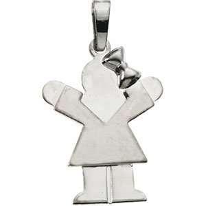 Genuine IceCarats Designer Jewelry Gift 14K White Gold Kids Love Girl