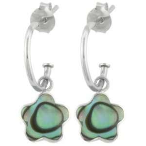 Sterling Silver Abalone Flower Charm Hoop Earrings (0.4