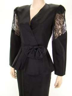 VTG 80s Sexy Glam Cross Front Lace Sleeves & Back Bustle Peplum Party