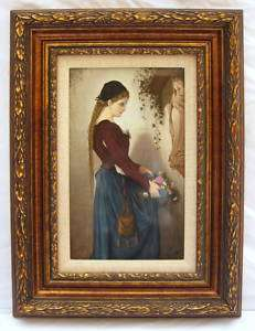 KPM 19th C Porcelain Plaque of Marguerite Signed Framed