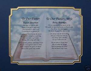 PASTOR & PASTORS WIFE PERSONALIZED POEM CHRISTMAS GIFT