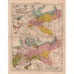 1884 Antique Map of Prussia from Encyclopedia Britannica