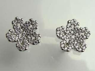 18K White Gold Earrings Stud Multiple Diamond Pavé Flower Motif 9