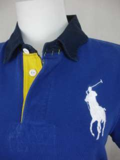 NWT Ralph Lauren Misses Rugby Polo Shirt Big Pony Mesh Blue White Navy