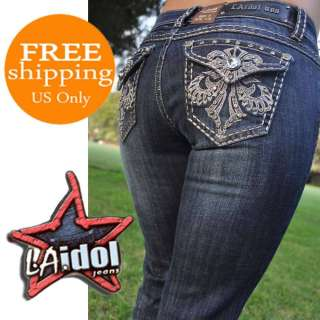 LA Idol jeans SZ 0 15 DARK BLUE New model BOOTCUT FAST SHIPPING 667LP