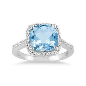 Cushion Cut Blue Topaz and Diamond Ring 14K White Gold