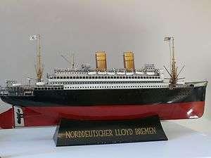 GERMAN TIN SHIP 1900S NORDDEUTSCHER LLOYD BRENEN CRUISE OCEAN LINER