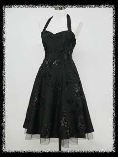 50s HALTER FLOCK TATTOO ROCKABILLY PROM PARTY COCKTAIL DRESS
