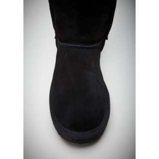 STUDDED CROSS BLACK SUEDE PULL ON SHEEPSKIN BOOTS NIB 7