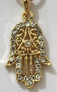 Hamsa with Sparkling Crystals Gold Tone Rhodium Plated Pendant and