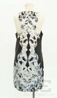 Tibi Black, White, & Blue Silk Floral Print Sleeveless Dress Size 10