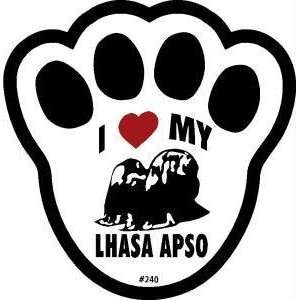 I Love My Lhasa Apso Dog Pawprint Window Decal Pet