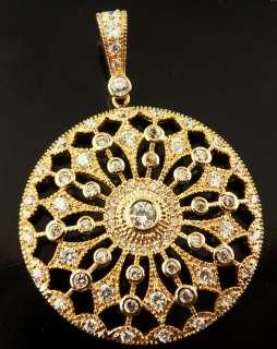 Round Cut Ladys White Topaz Gems MNP112 Pendant 14k Rose Color Gold