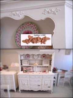 Shabby Cottage Chic Furniture APPLIQUE 6 ROSES vintage