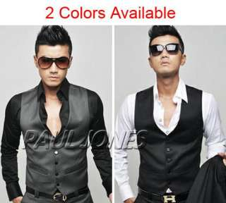 Smart Mens Slim Fit Skinny Suit Dress Casual Buttons Waistcoat Vest