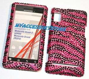 Motorola A955 Droid 2 II Pink Zebra Rhinestones Crystal Bling Phone