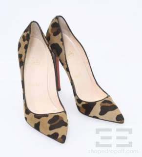 Christian Louboutin Leopard Print Pony Hair Point Toe Pigalle 120