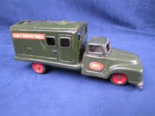 Vintage Tin Friction Bell Cable Repair Truck Japan