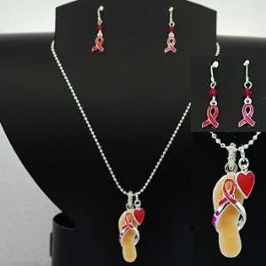 Pink Ribbon ~ Flip Flop ~ Necklace/Earring Set Everything