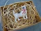 New 3D Dresden Paper Christmas Ornament Mini White Kitty Cat Tree