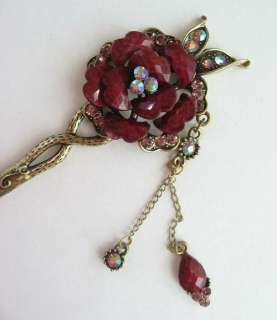 VARY COLORS SWAROVSKI CRYSTAL DANGLE FLOWER HAIR STICK PIN PICK 614
