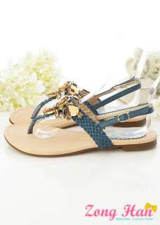 Perfect Jeweled Flat Sandals Beige Blue