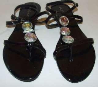Patent Leather Jeweled T Strap Sandals Shoes Womens 6.5 B NIB