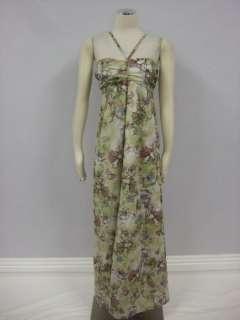 Jack BB Dakota Anthropologie Green Floral Ruched Flattering Maxi Dress